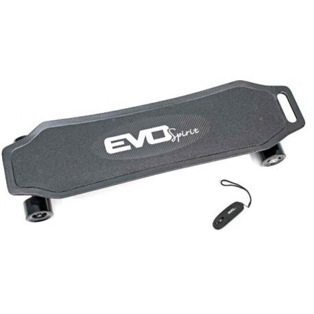 Longboard électrique EVO-LBC Evo Spirit vu de face avec sa télécommande